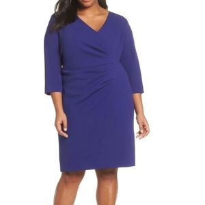 Tahari Blue Ruched Surplice Crepe Sheath Dress